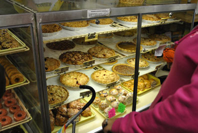 Delicious, fresh baked whole pies  at the Bakery & Sweet Shop at MacQueen Apple Orchard, Cider Mill, Farm Market, and Pick Your Own Apples, Holland, Ohio, west of Toledo